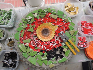 Poppy Birdbath mosaic pieces