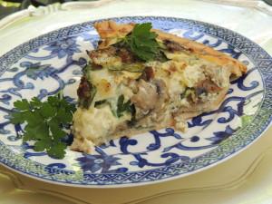 sausage mushroom spinach swiss quiche