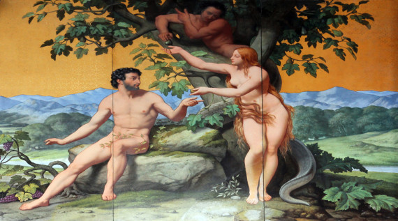 Adam and Eve, painting on the facade, Saint Vincent de Paul church, Paris