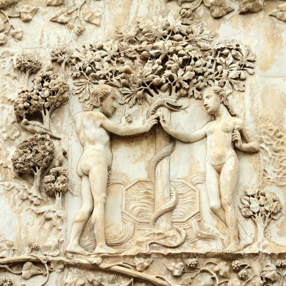 Adam and Eve, the original sin - marble relief on the Orvieto Ca