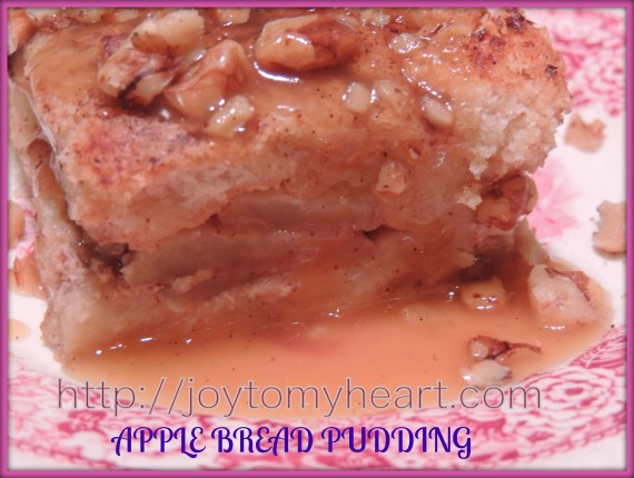 apple bread pudding plated