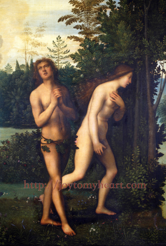 ZAGREB, CROATIA - DECEMBER 12: Mariotto Albertinelli: Expulsion of Adam and Eve from paradise, exhibited at the Great Masters renesnse in Croatia, opened December 12, 2011. in Zagreb, Croatia