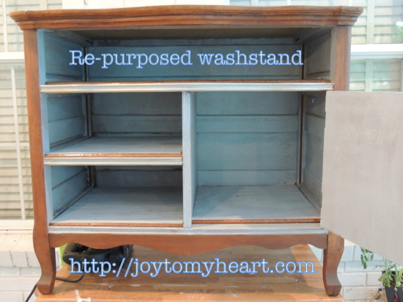 re-purposed washstand open