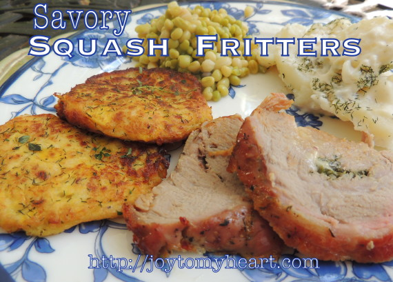 savory squash fritters plate
