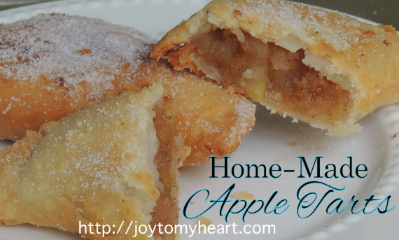 homemade apple tarts sliced