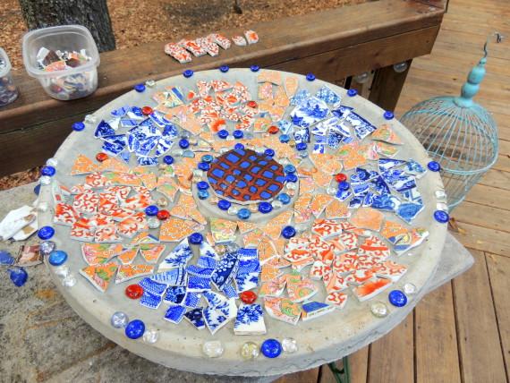 beths mosaic birdbath design