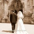 Bride and groom entering the church (concept for marriage made ??by God to unite a man and a woman in a single body)