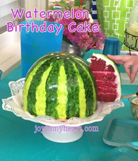 watermelon cake slicing