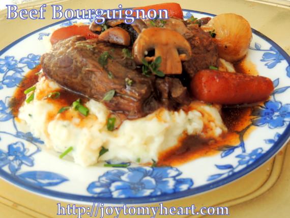 beef bourguignon plate