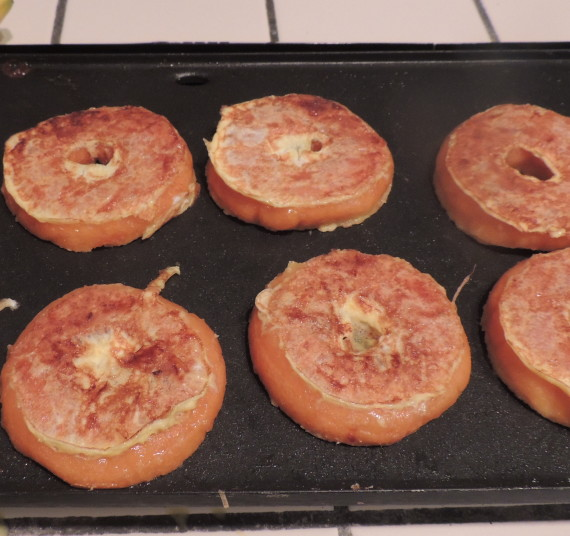 French toast doughnuts flipped