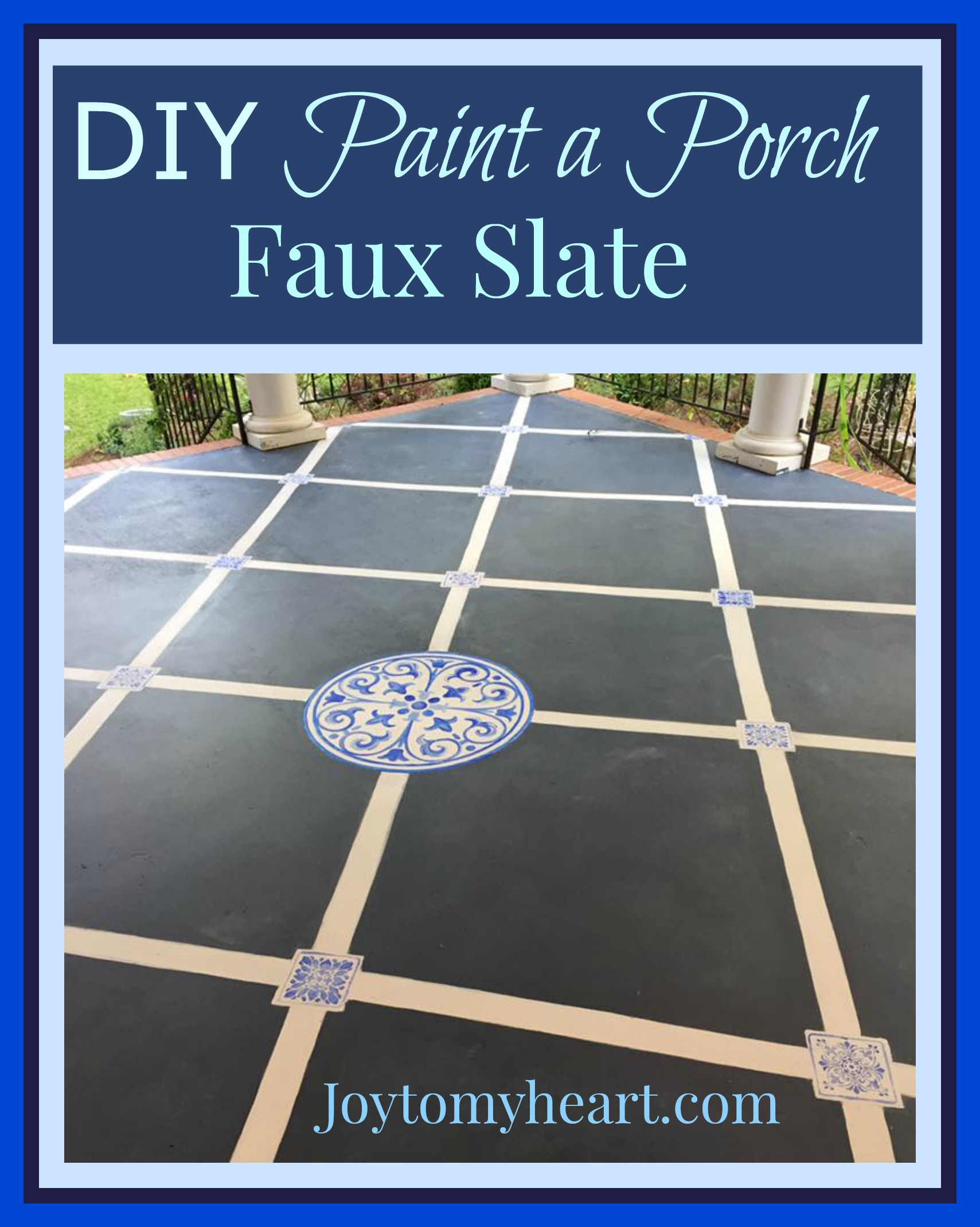 Diy paint a porch faux slate with stencil tiles joy to my heart i know people say painting will be a pain to keep upbut so would staining both will scratch i opted to paint my porch faux slate with stencil tiles dailygadgetfo Images